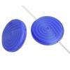 Glass Bead 18mm Round Twister Pattern Blue Silk